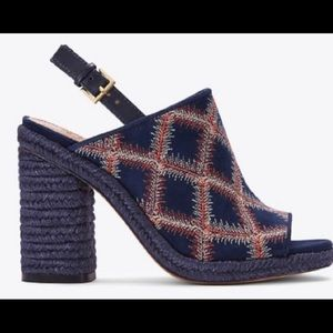 New Tory Burch Navy Leather/Stitch Sandals. US 7